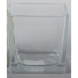 Vase Cubique en verre transparent