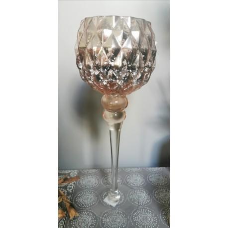 Vase cognac craquelé sur pied